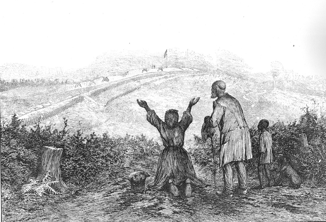 sketch of slaves with arms raised, flag in the background
